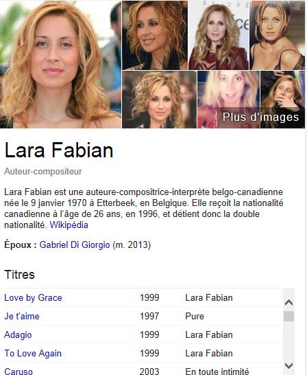 petite biographie sur Lara Fabian