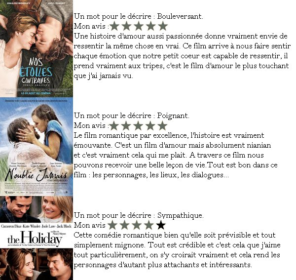 TOP CINQ #1 (FILM D'AMOUR).