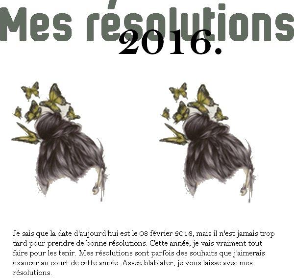 BLABLABLA #1 (MES BONNES RESOLUTIONS DE L'ANNEE 2016.)