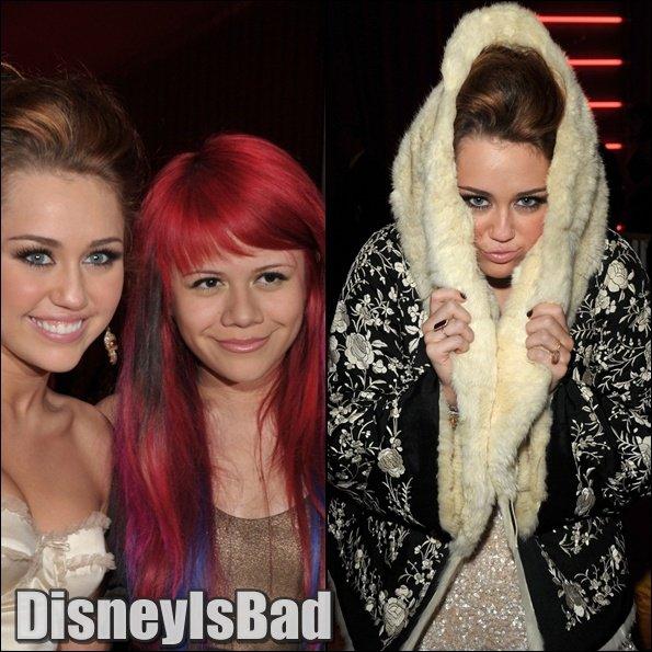 .Miley était a un gala organisé par Elton John Mais Miley pourquoi te moques-tu de celle qui n'ont pas de beaux cheveux en faisant des imitations ? .