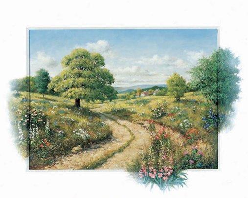 volia des peintures sur les fleurs, sur des paysages , maison