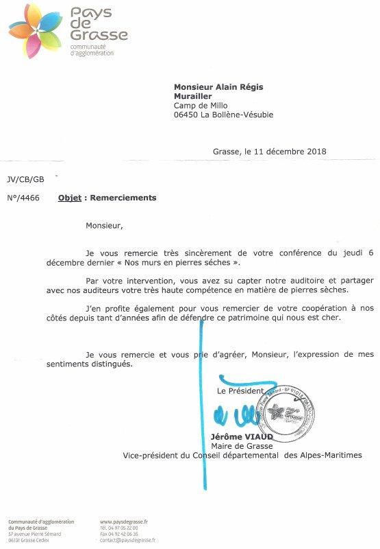 Remerciement de M. Jérôme VIAUD Vice-président du Conseil départemental des Alpes Maritimes