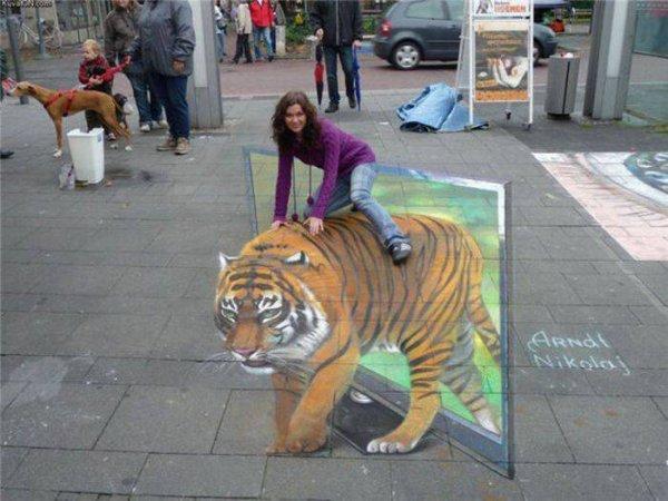 Un tigre en pleine rue le royaume des illusions d 39 optique - Illusion optique dessin ...