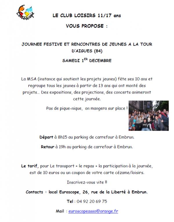 CLUB LOISIRS pour les 13/25 ans JOURNEE FESTIVE VAUCLUSE