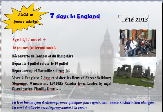 TRIP EN ANGLETERRE DU 4 JUILLET AU 10 JUILLET 2013