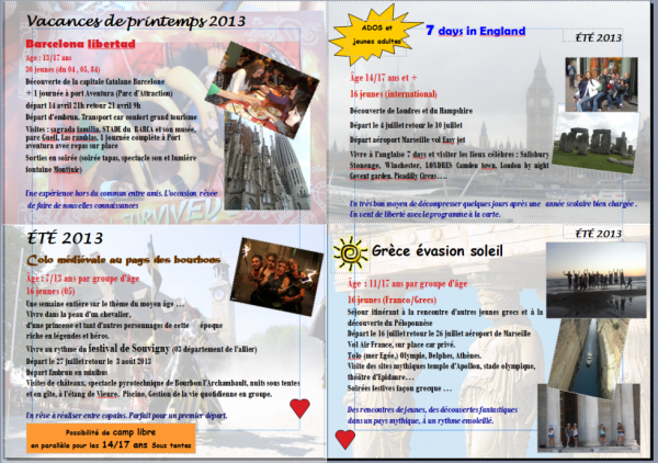 INSCRIPTIONS SEJOURS ETE 2013