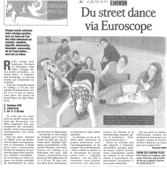 Article de journal du 23 Avril 2013