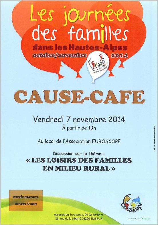 Pour les Journées des familles, un Cause-café le vendredi 7 novembre à partir de 19h au local d'EUROSCOPE !!