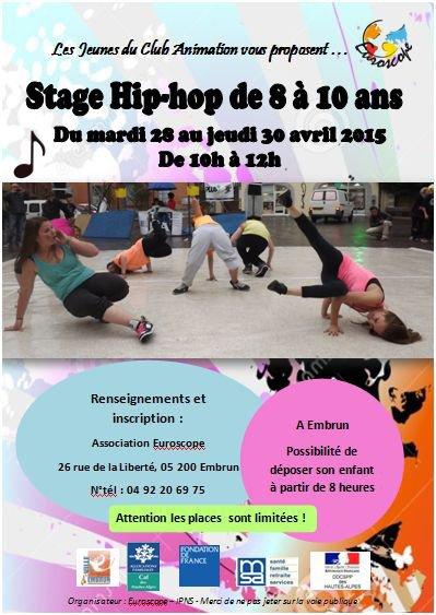 Stage Hip-hop pour les 8-10 ans du 28 au 30 avril !