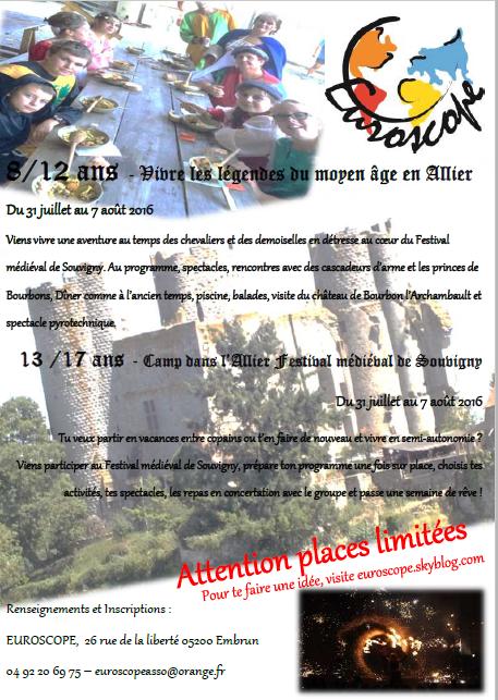 Venez vite vous inscrire à notre Camp Médiéval....