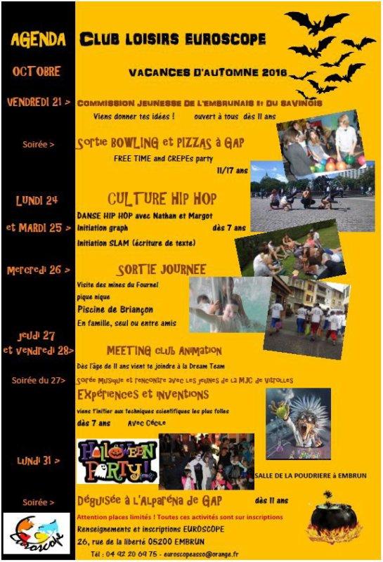 Programme de la Toussaint 2016