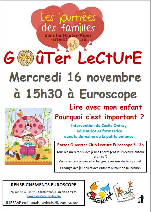 Goûter-Lecture Mercredi 16 novembre