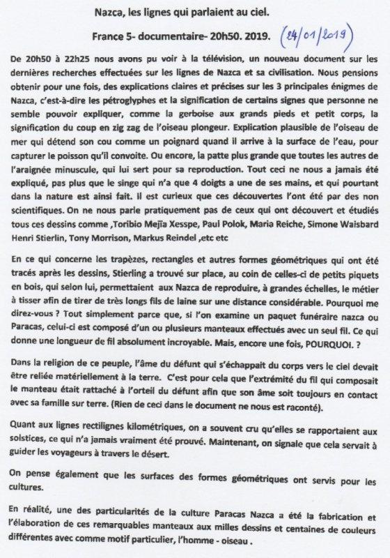 """Documentaire de France 5 du 24/01/2019: """"Nazca, les lignes qui parlaient au ciel"""""""