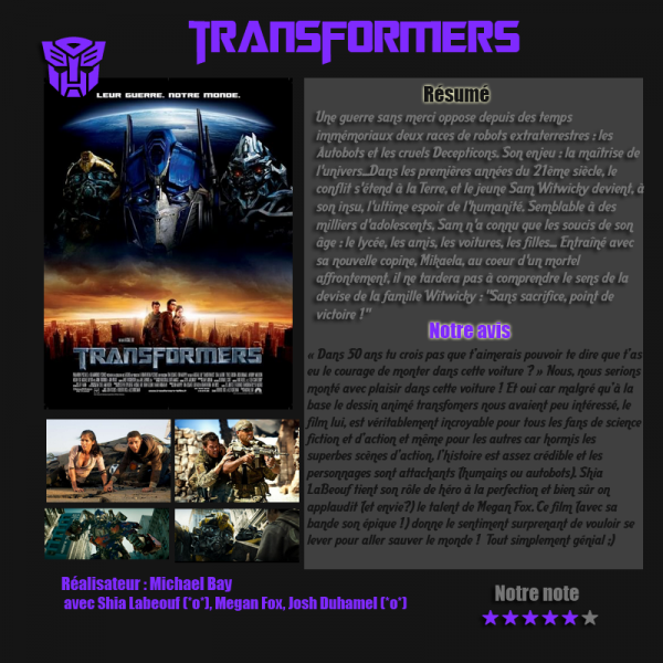 Article-film, Transformers (action, science-fiction, aventure)