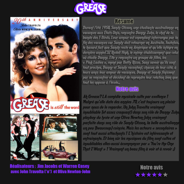 Article-films, Grease ( comédie musicale)