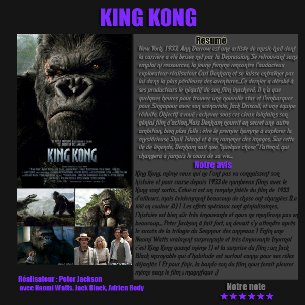 Articles-films, King Kong (Fantastique, Aventure)