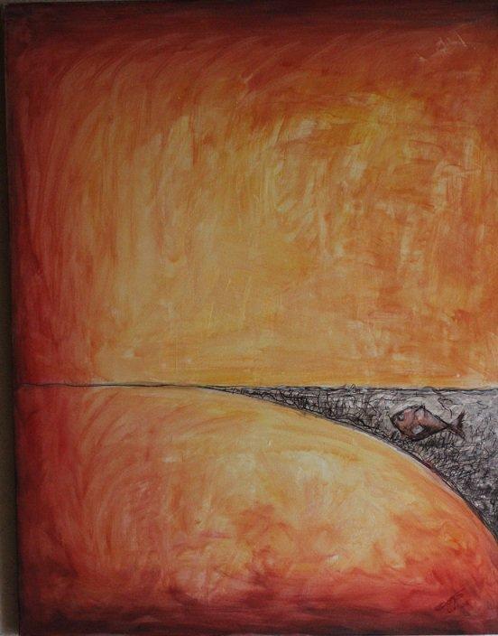 Peinture rouge orangé (sur le theme de la solitude)
