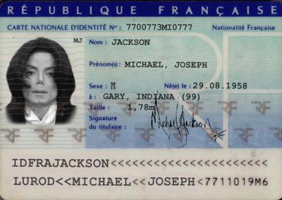 carte d 39 identit nationale de michael jackson blog officiel de michael jackson. Black Bedroom Furniture Sets. Home Design Ideas
