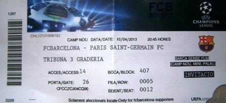 Barcelona PSG quart Finale Champions League 2013