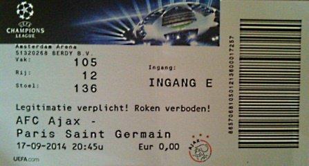 Ticket Ajax Amsterdam Psg Champions league 2014 2015