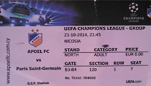 Apoel Nicosie - PSG Champions league 2014-2015