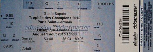 Trophée des Champions 2015 à MONTREAL PSG LYON