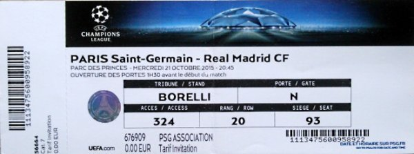 PSG REAL MADRID 2015-2016 CHAMPIONS LEAGUE