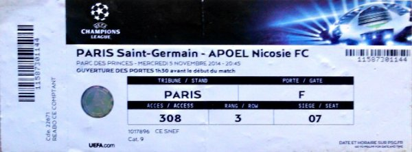 PSG Apoel Nicosie 2014 2015 Champions league