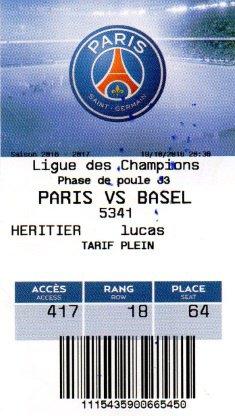 PSG FC BASEL  CHAMPIONS LEAGUE 2016 2017