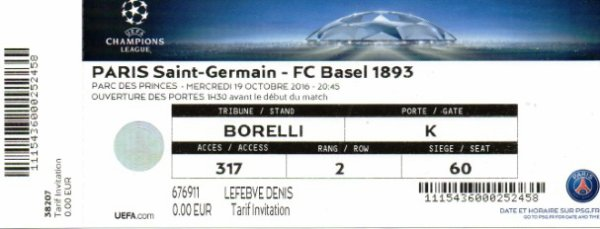 PSG FC BASEL 2016 - 2017