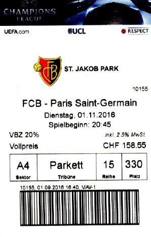 FC BASEL PARIS SAINT GERMAIN 2016 2017 Champions league