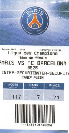 PSG Barcelona 2016 - 2017 8 eme finale