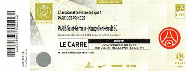 Ticket Rare Carré VIP MATHIEU BASTAREAUD 2016 2017