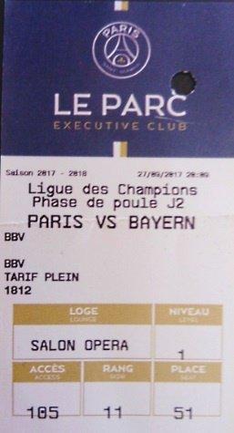 PSG Bayern Munich Champions league 2017 - 2018 3/0 Parc des Princes  LOGE
