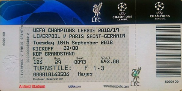 FC LIVERPOOL PSG CHAMPIONS LEAGUE  2018 - 2019 in ANFIELD STADIUM