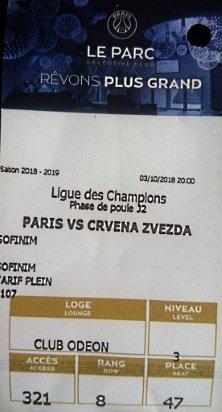 PSG CRVENA ZVEZDA CHAMPIONS LEAGUE 2018 2019