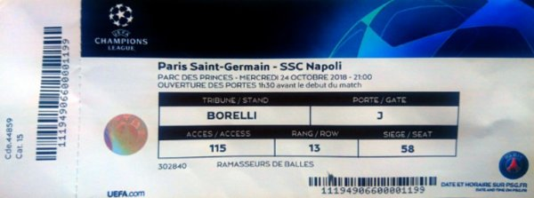 PSG SSC NAPOLI CHAMPIONS LEAGUE 2018 - 2019