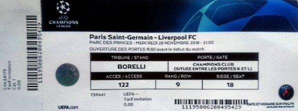 PSG LIVERPOOL CHAMPIONS LEAGUE PARIS SAINT GERMAIN 2018 - 2019