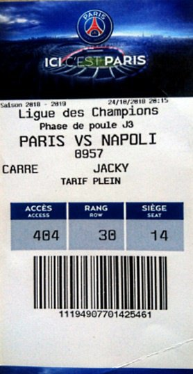 Ticket SSC NAPOLI PSG PARIS SAINT GERMAIN CHAMPIONS LEAGUE 2018-2019