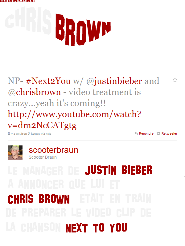 ~ New ~ Chris Brown & Justin Bieber - Next To You ~ Prochain Single ~