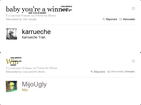 Tweets de Mijo & Karrueche pour Chris Brown