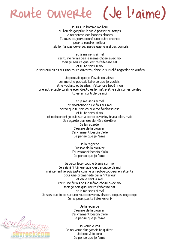 Chris Brown - Open Road (I love her) lyrics + traduction
