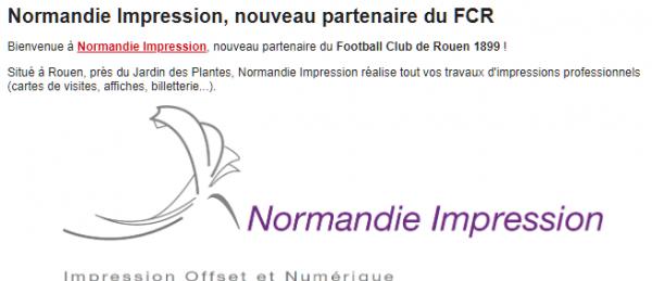 Normandie Impression, nouveau partenaire du FCR
