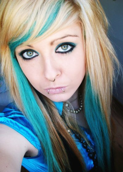 blonde and blue emo scene hair style
