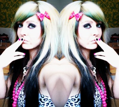 blonde and black emo scene hair style bibi barbaric girl site model bow