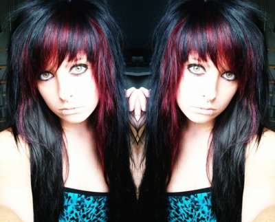 black red emo scene hair style site model bibi barbaric girl