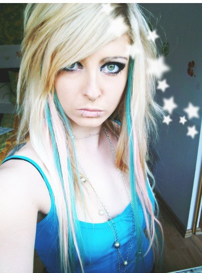 blonde blue emo scene hair style for girls