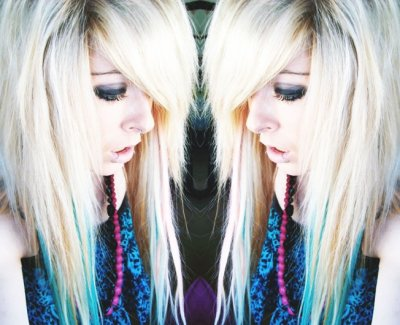 blonde blue emo scene hair style site model girl bibi barbaric