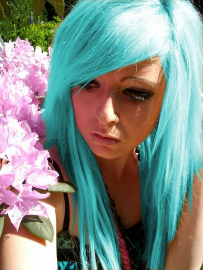 blue turquoise emo scene hair style girl