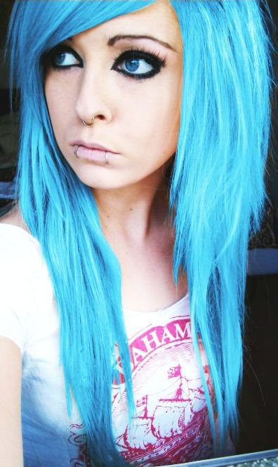 bibi barbaric blue emo scene hair style german scene queen and site model piercings make up
